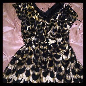 Glam Fancy mini gold & black dress size small.